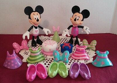 Disney Minnie Mouse Bow-Tique Dress Up Dolls Snap On Clothes Birthday Lot of 15