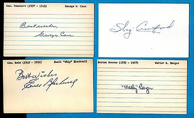 LOT of EIGHT (8) Signed Baseball 3X5 Index Cards Vintage Autographs All Deceased