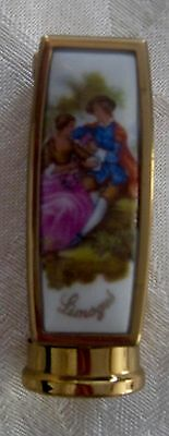 Vintage Limoges lipstick case, courting couple, made in France
