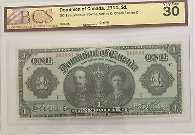 1911 $1 DC-18a. VF30 Dominion of Canada banknote BV$875. REDUCED