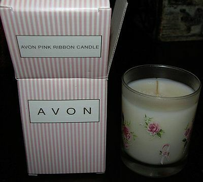 New NIB Avon Pink Ribbon Glass Floral Candle 1999