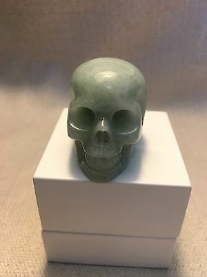 Beautiful Healing Green Aquamarine Crystal Quartz Gemstone Skull