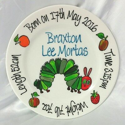 Baby Plate Hand Painted Personalised Very Hungry Caterpillar design boy or girl