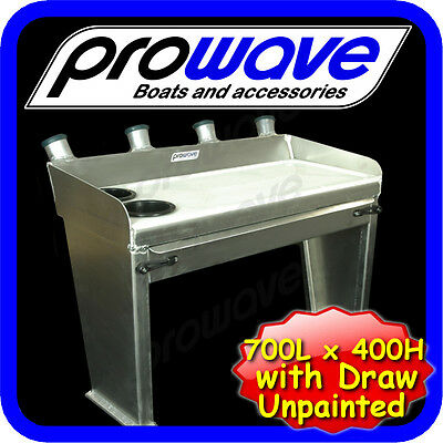 Aluminium Baitboard with drawer, 700W x 400H, Unpainted