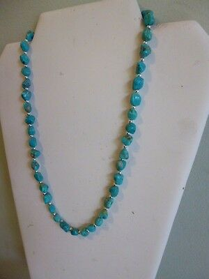 Natural Arizona Blue Turquoise And Silver Native American Navajo Style Necklace