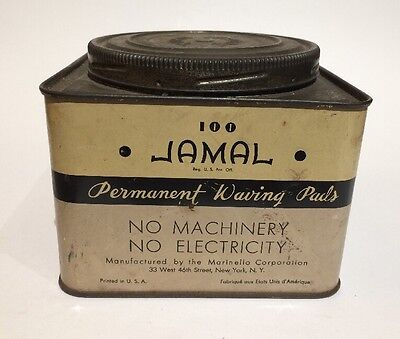 Vintage Barber Shop Jamal Permanent Waving Pads Hair Salon Advertising Tin
