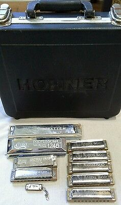 Lot of 9 Harmonicas with Hohner case Hohner, Huang, Blues Harp etc.