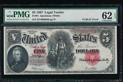 AC Fr 91 1907 $5 Legal Tender PMG 62 EPQ uncirculated woodchopper