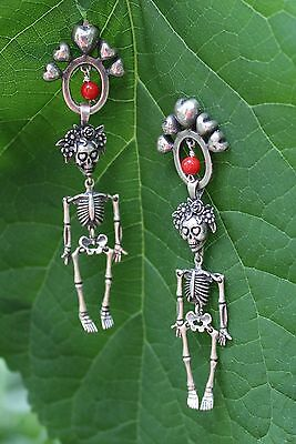 Articulated Skeleton Earrings Sterling Day of the Dead Muertos Frida & Hearts