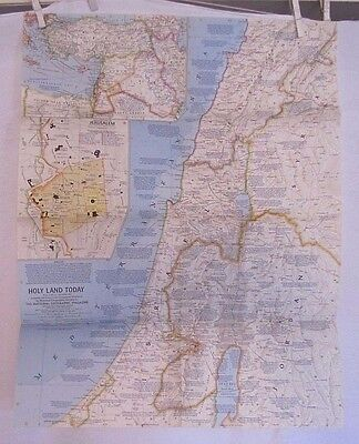 1963 National Geographic Map - Holy Land Today - 19 x 24 inches