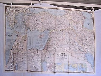 1967 National Geographic Map - Lands of the Bible Today - 40 x 29 inches