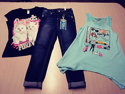 Girls Justice clothes size 10 slim Super skinny jeans & shirts 10 12 lot