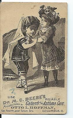 Victorian Trade Card-Columbus, Ohio-Dr. Beebe's Reliable Catarrh & Asthma Cure!