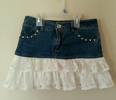 Takara Girls Size M Medium Blue Jean Skirt With Lace
