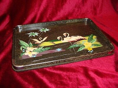 Vintage Art Deco Miami Serving Cocktail Tray Flamingos