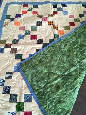 NWT Authentic Amish Hand Made Quilt Double Sided 42x38