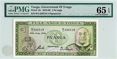 1989 Tonga Pmg Gem Unc. 65 Epq 1 Pa'anga! Pick# 19C! Only 2 Exist In Gem Unc 65!