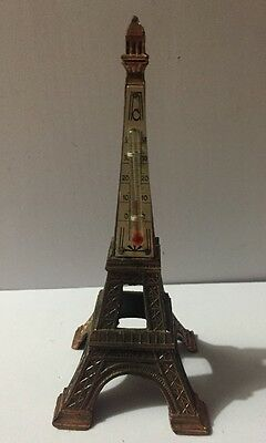 VINTAGE PARIS EIFFEL TOWER THERMOMETER SOUVENIR COPPERTONE METAL Collectible Old