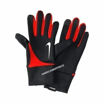 Nike New Men's Dri-Fit Tailwind Running Gloves,nwt,black/red Touch Screen Finger
