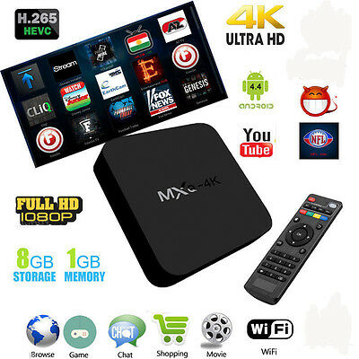 Kodi 17.1 MXQ 4K Android 6.0 quad-core Smart TV Box 1G+8G H.265 4K HD HDMI Hot