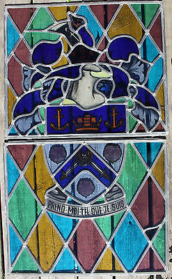 "Antique Stained Glass Window Panes W/ French Motto ""prend Moi Tel Que Je Suis"""