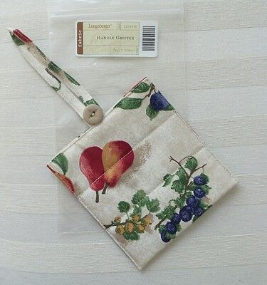Longaberger Retired HANDLE GRIPPER with Button FRUIT MEDLEY Fabric MIB