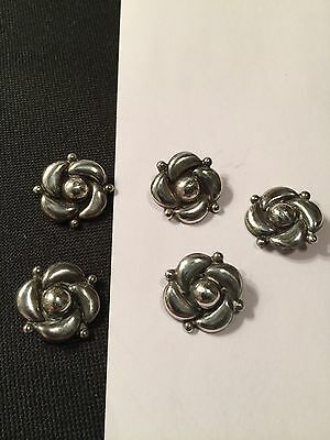 Vintage AHS Sterling Silver Floral Repousse Buttons Mexico Mexican Taxco (5)