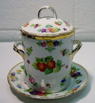 c.1900~SAXE PORCELAIN~3 Pc. CONDENSED MILK or JAM HOLDER~Germany~HAND PAINTED