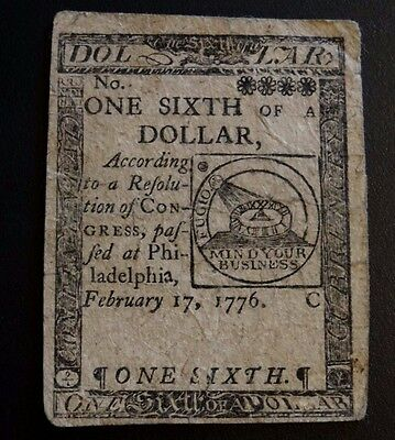 Continental Currency February 17, 1776 $1/6 Fugio Note One Sixth Hall Sellers