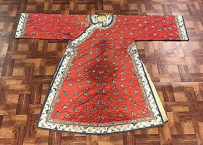 Antique Chinese Red Silk Changfu Informal Butterfly Embroidered Dragon Robe Kesi