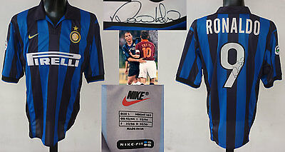 Maglia Fc Inter Match Worn/issued Shirt Serie A 98/99 - Ronaldo 9 Signed Brasil