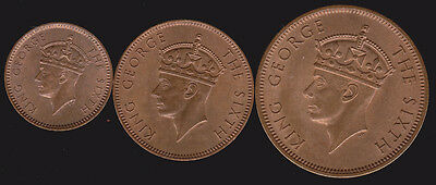 Seychelles 1948 Year Date Set 1, 2 & 5 Cents UNC RED BU 3 pc Lot High Grade