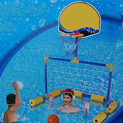 Water Floating Basketball Soccer Goal Pool Inflatable Balls Pump Multi-Sport SFW