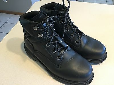WOLVERINE Men's Black Leather Steel Toe Boots Size 8M