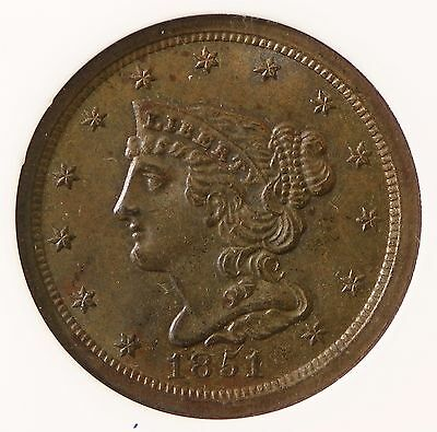 1851 ANACS MS61 BRN Half Cent - Seriously Under Graded