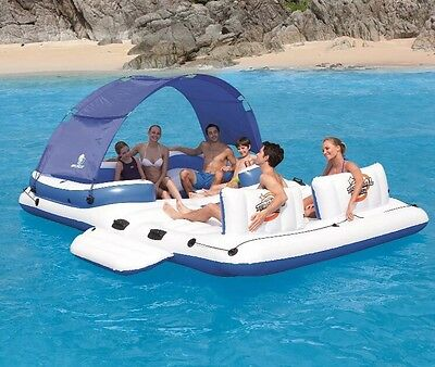 Inflatable Multi Person Island Raft Florida Springs Pool Float Cooler Canopy