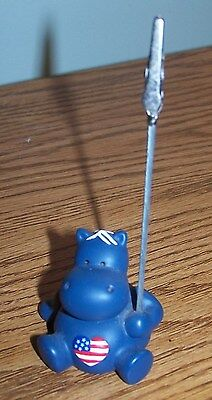 Blue Hippo With Flag Picture Clip Holder