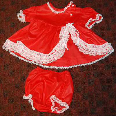 "Cute Vintage Toddler Girl's Or Doll Dress + Panties 2 P.c. Set  ""toddle Time"""
