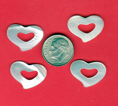 4 Large Hand Carved Mother of Pearl Floating Heart Pendant Charm 4g