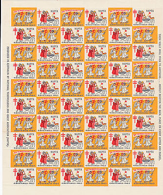 STAMPS.Australia Cindarella,Christmas 1963 Join the March against TB,full sheet