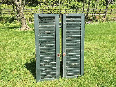 Pair Of Antique Vtg Farm House Barn Window Wood Louvered Shutters Shabby Chic