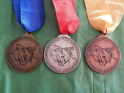 TASMANIAN FIRE BRIGADES COMPETITIONS ASSOCIATION 1st, 2nd AND 3rd PLACE MEDALS