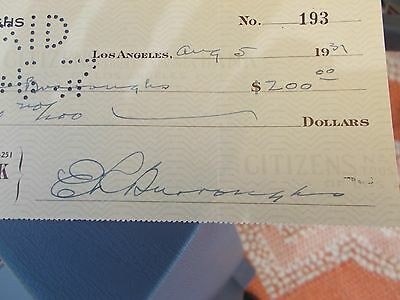 Edgar Rice Burroughs~Unique Signed Check To 2Nd Wife Florence Gilbert Dearholt