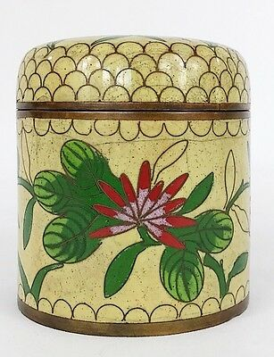 Antique 1920s Chinese Cloisonne Tea Caddy Jar - Red & Yellow Floral