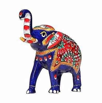 "Elephant Decor 5.1"" Large Trunk-Up Elephant Good Luck Sculpture Metal Fi..."