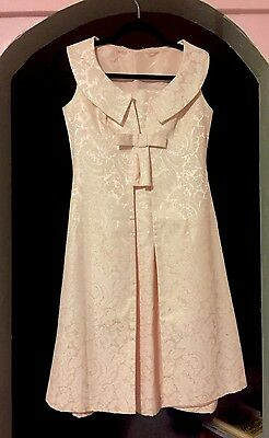 Vintage 1960s Pink SATIN JACQUARD 2 Pc DRESS SET SLEEVELESS JACKET BOW FRONT XXS