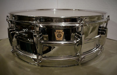 Vintage 60s Super Ludwig 5x14 Chrome Over Brass Shell Snare Drum Pre Supraphonic