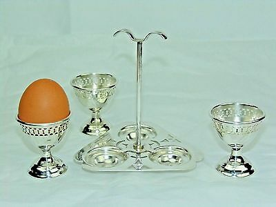 Antique English Silver 3 Egg Cup Caddy Holder 3 Egg Cruet Set W/handle Pierced