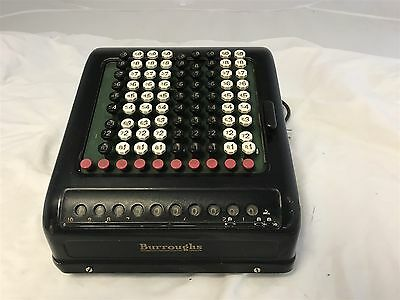 vintage Antique Burroughs Adding Machine Mechanical Calculator Art Deco-Working