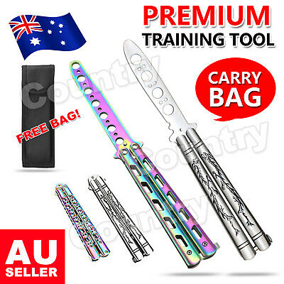 Folding Balisong Practice Trainer Traning Butterfly Knife Dull Blade Metal Tool